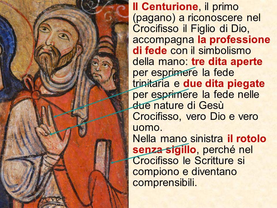Maria madre di Giacomo, con lo sguardo verso il Crocifisso, lavambraccio sollevato e la mano aperta manifesta lo stupore di chi sa meravigliarsi di fr