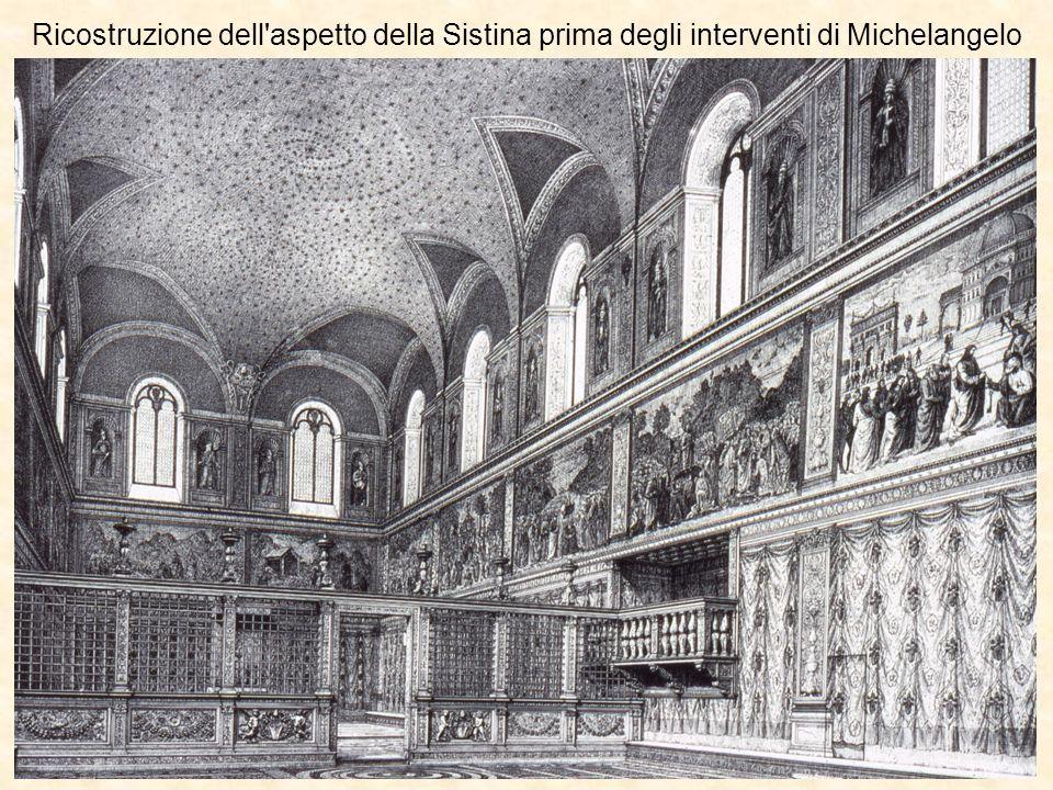 Ricostruzione dell'aspetto della Sistina prima degli interventi di Michelangelo