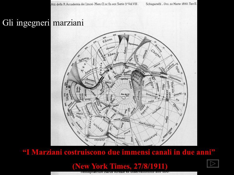 Gli ingegneri marziani I Marziani costruiscono due immensi canali in due anni (New York Times, 27/8/1911)
