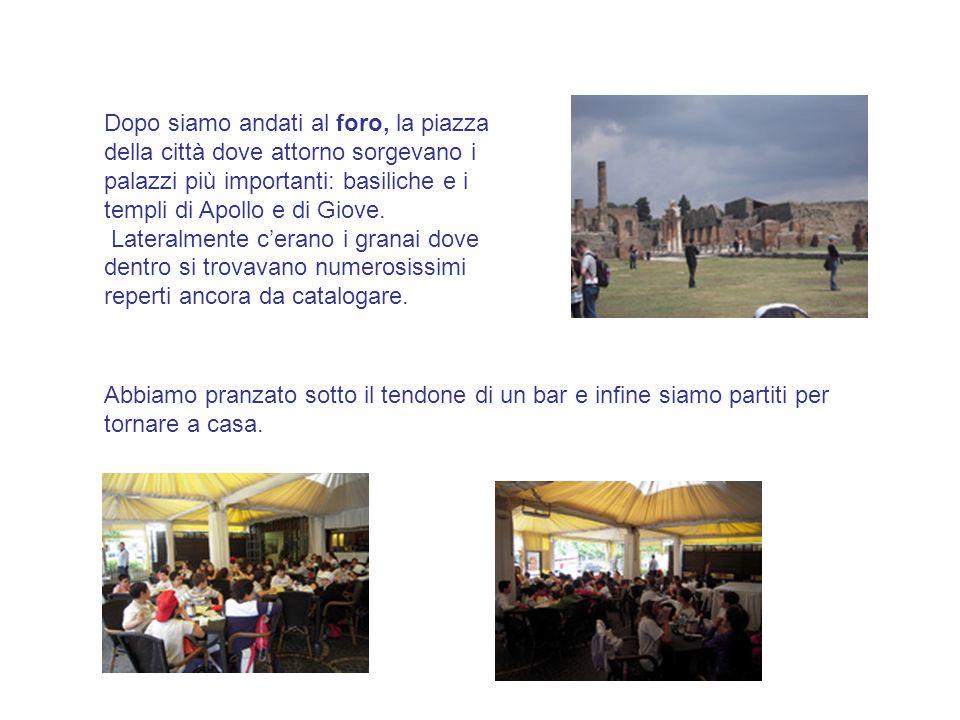 Dopo siamo andati al foro, la piazza della città dove attorno sorgevano i palazzi più importanti: basiliche e i templi di Apollo e di Giove. Lateralme
