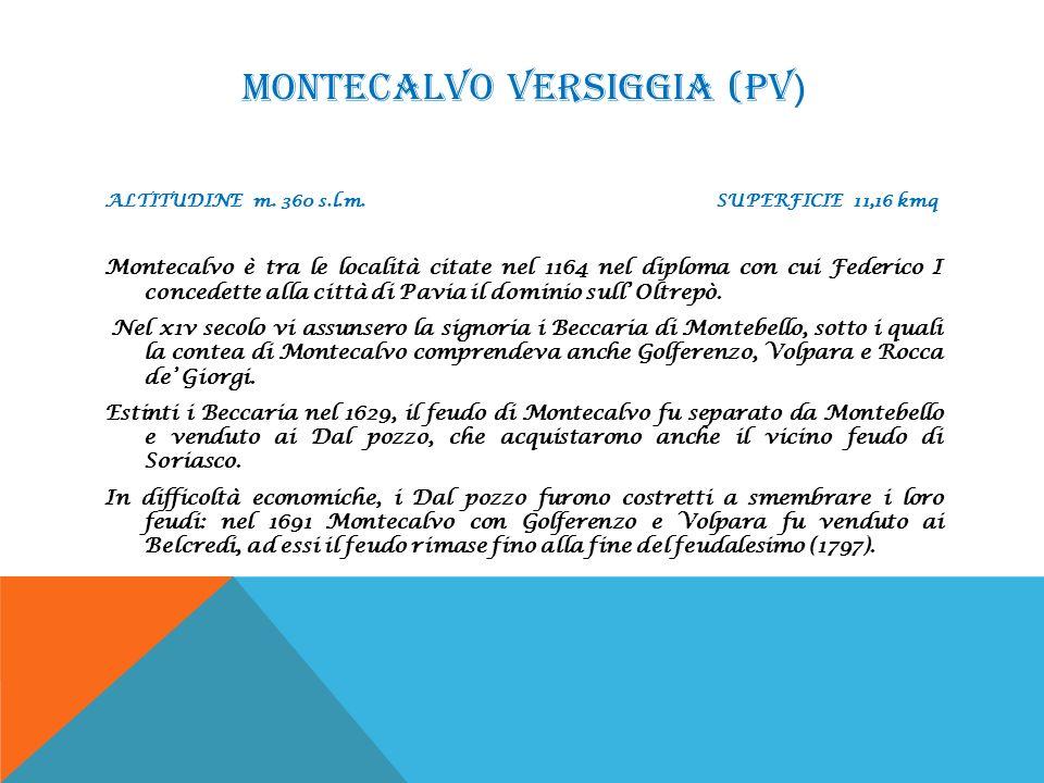 MONTECALVO VERSIGGIA (PV ) ALTITUDINE m. 360 s.l.m. SUPERFICIE 11,16 kmq Montecalvo è tra le località citate nel 1164 nel diploma con cui Federico I c