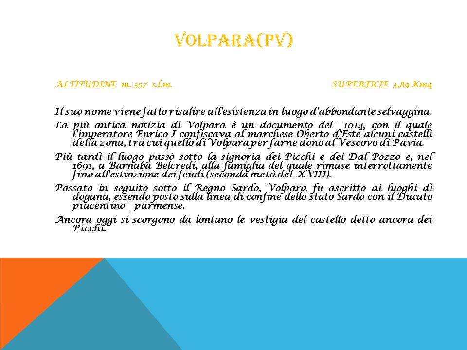 VOLPARA(PV) ALTITUDINE m. 357 s.l.m. SUPERFICIE 3,89 Kmq Il suo nome viene fatto risalire all'esistenza in luogo d'abbondante selvaggina. La più antic