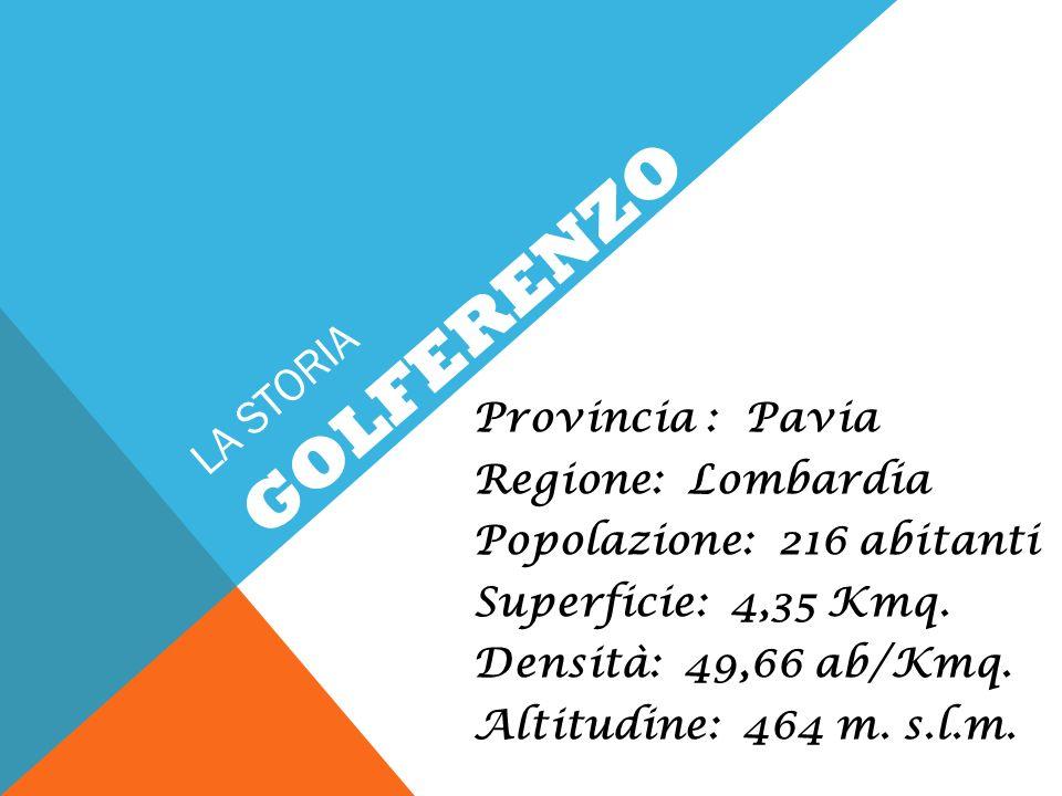 LA STORIA Provincia : Pavia Regione: Lombardia Popolazione: 216 abitanti Superficie: 4,35 Kmq. Densità: 49,66 ab/Kmq. Altitudine: 464 m. s.l.m. GOLFER