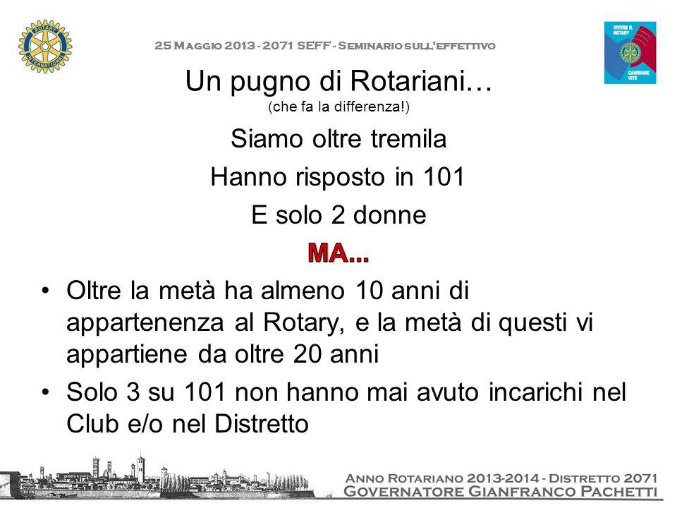 Un pugno di Rotariani… (che fa la differenza!) 25 Maggio 2013 - 2071 SEFF - Seminario sull'effettivo