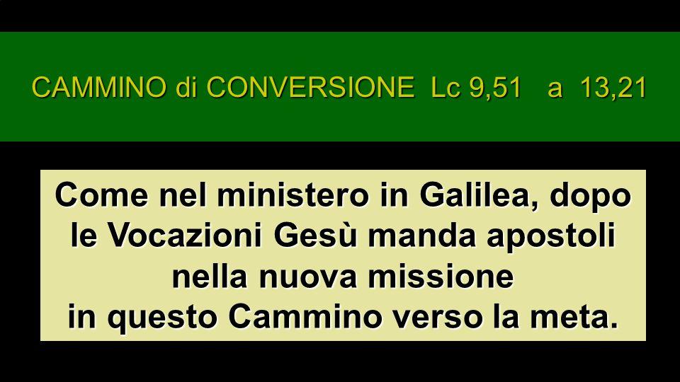 CAMMINO di CONVERSIONE Lc 9,51 a 13,21 Come nel ministero in Galilea, dopo le Vocazioni Gesù manda apostoli nella nuova missione in questo Cammino verso la meta.