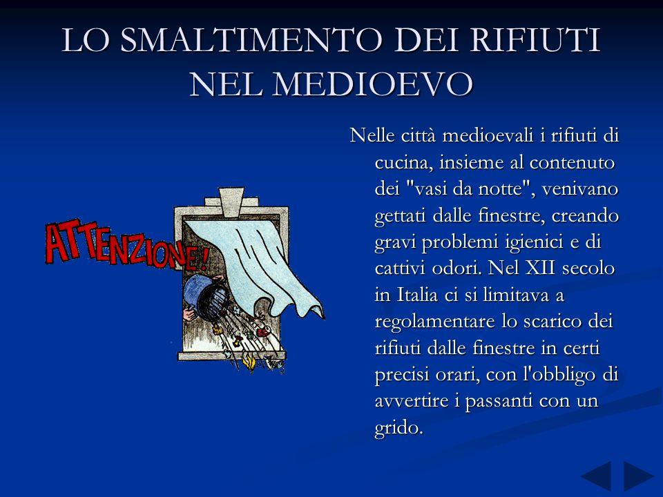 LO SMALTIMENTO DEI RIFIUTI NELLANTICA ROMA Ci furono però notevoli esempi di razionali sistemi di allontanamento delle deiezioni dalle abitazioni. Nel