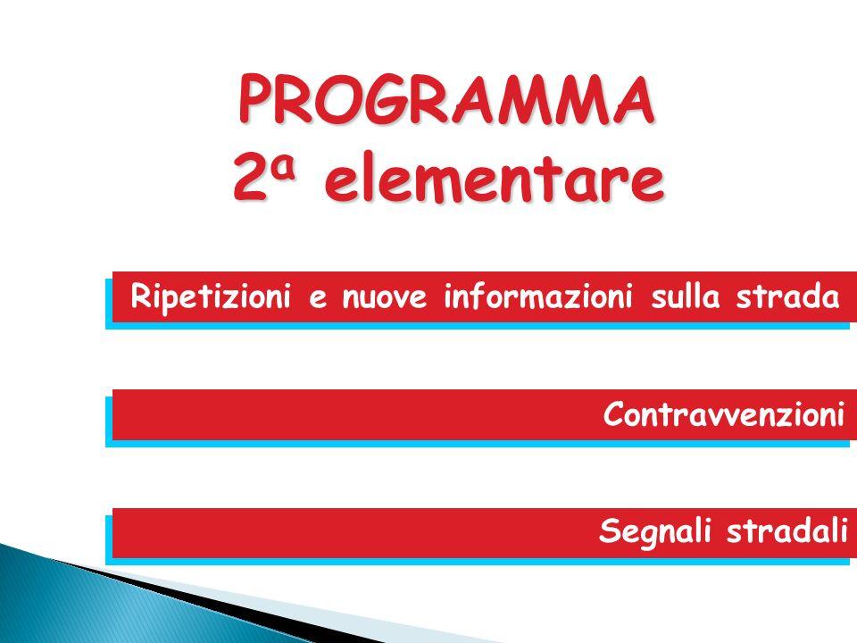 Ripetizioni e nuove informazioni sulla strada Contravvenzioni Segnali stradali PROGRAMMA 2 a elementare