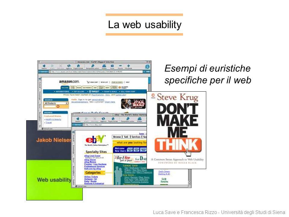 Luca Save e Francesca Rizzo - Università degli Studi di Siena La web usability Esempi di euristiche specifiche per il web