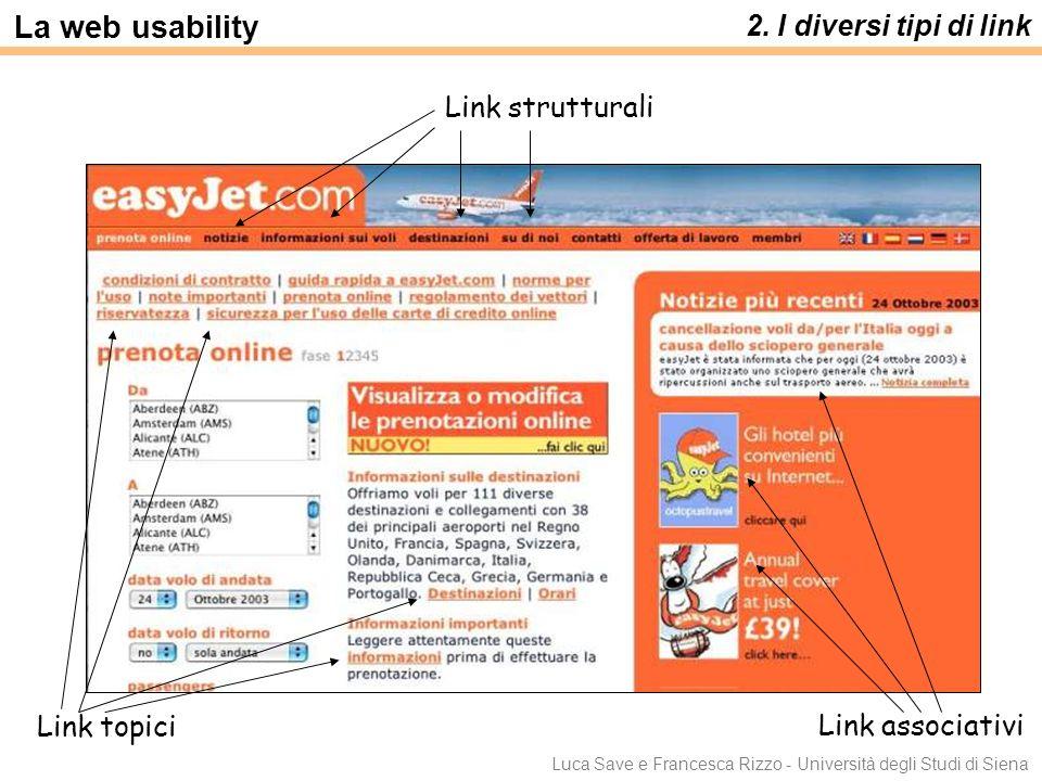 Luca Save e Francesca Rizzo - Università degli Studi di Siena 2. I diversi tipi di link La web usability Link associativi Link strutturali Link topici