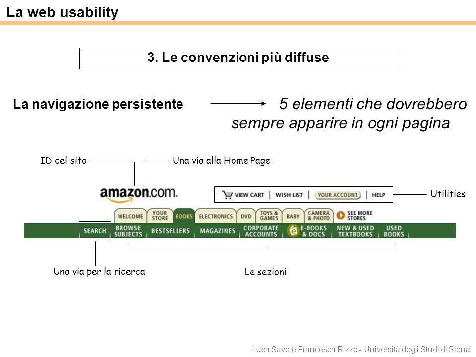 Luca Save e Francesca Rizzo - Università degli Studi di Siena La web usability 3. Le convenzioni più diffuse 5 elementi che dovrebbero sempre apparire