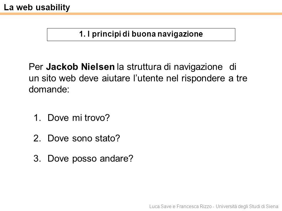 Luca Save e Francesca Rizzo - Università degli Studi di Siena La web usability 1. I principi di buona navigazione 1.Dove mi trovo? 2.Dove sono stato?