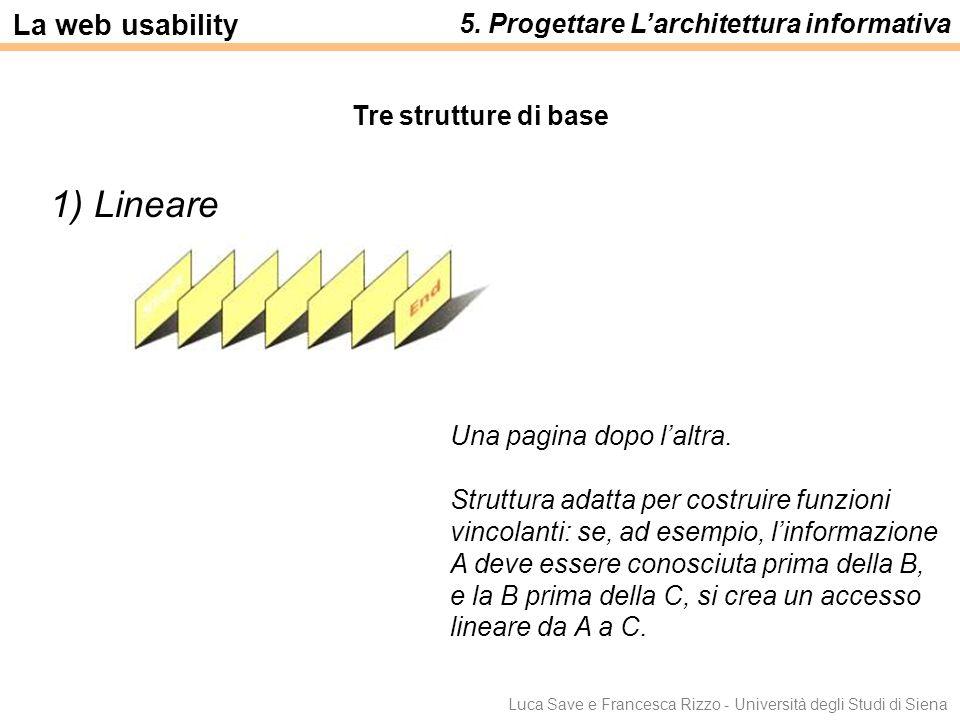 Luca Save e Francesca Rizzo - Università degli Studi di Siena Tre strutture di base 1) Lineare Una pagina dopo laltra. Struttura adatta per costruire