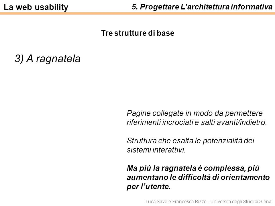 Luca Save e Francesca Rizzo - Università degli Studi di Siena 3) A ragnatela Pagine collegate in modo da permettere riferimenti incrociati e salti ava