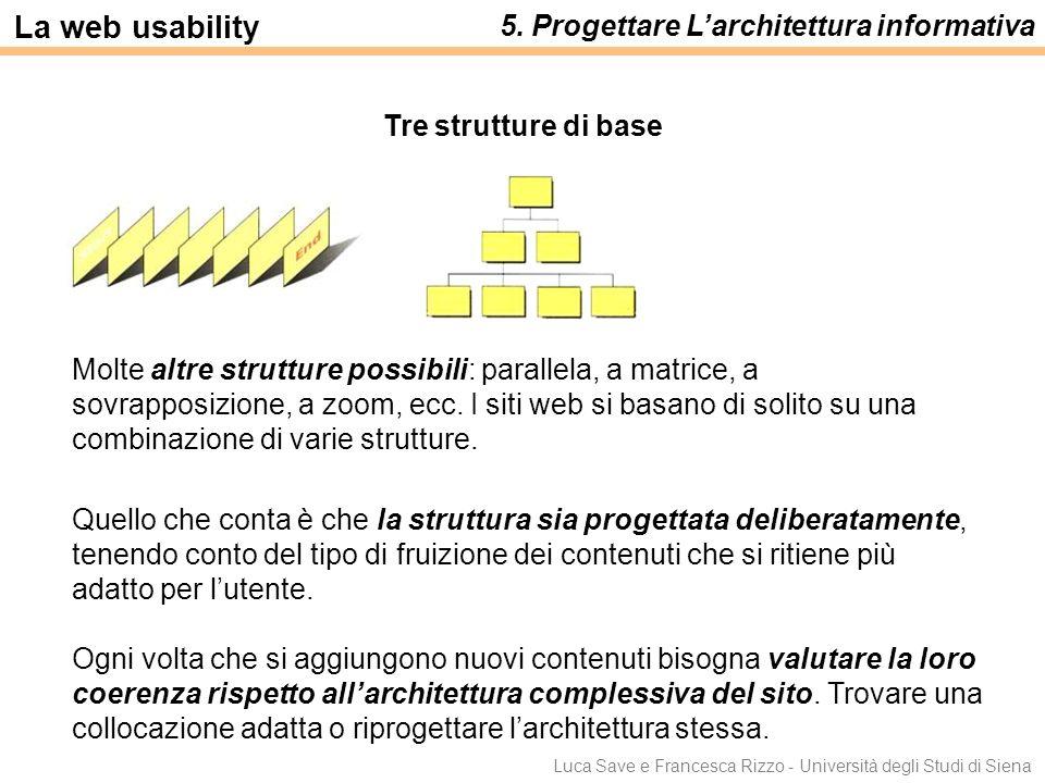 Luca Save e Francesca Rizzo - Università degli Studi di Siena Molte altre strutture possibili: parallela, a matrice, a sovrapposizione, a zoom, ecc. I