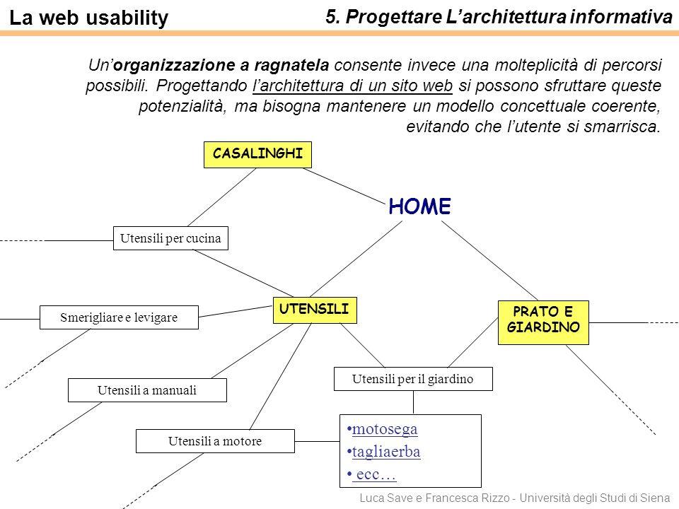 Luca Save e Francesca Rizzo - Università degli Studi di Siena Unorganizzazione a ragnatela consente invece una molteplicità di percorsi possibili. Pro