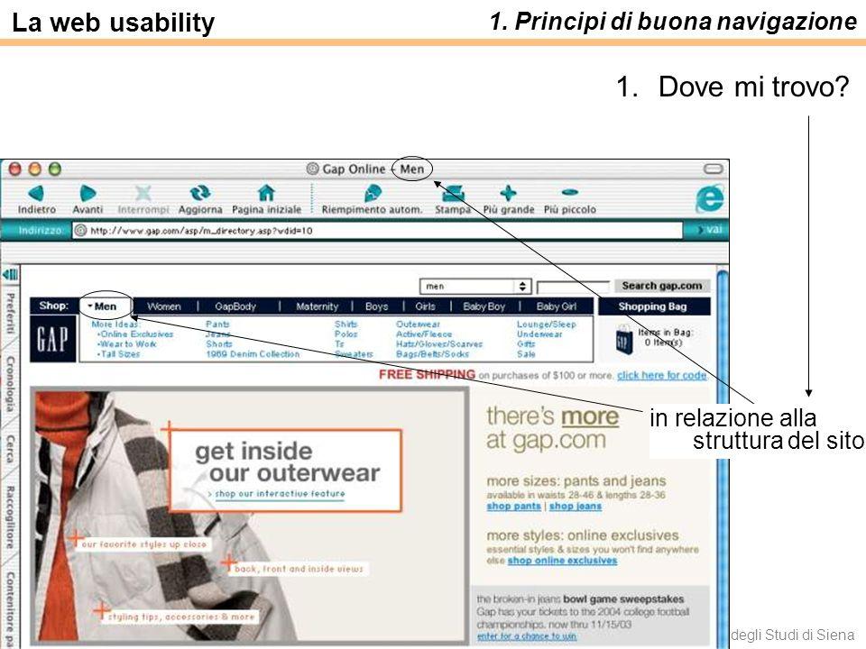 Luca Save e Francesca Rizzo - Università degli Studi di Siena La web usability 1. Principi di buona navigazione 1.Dove mi trovo? in relazione alla str