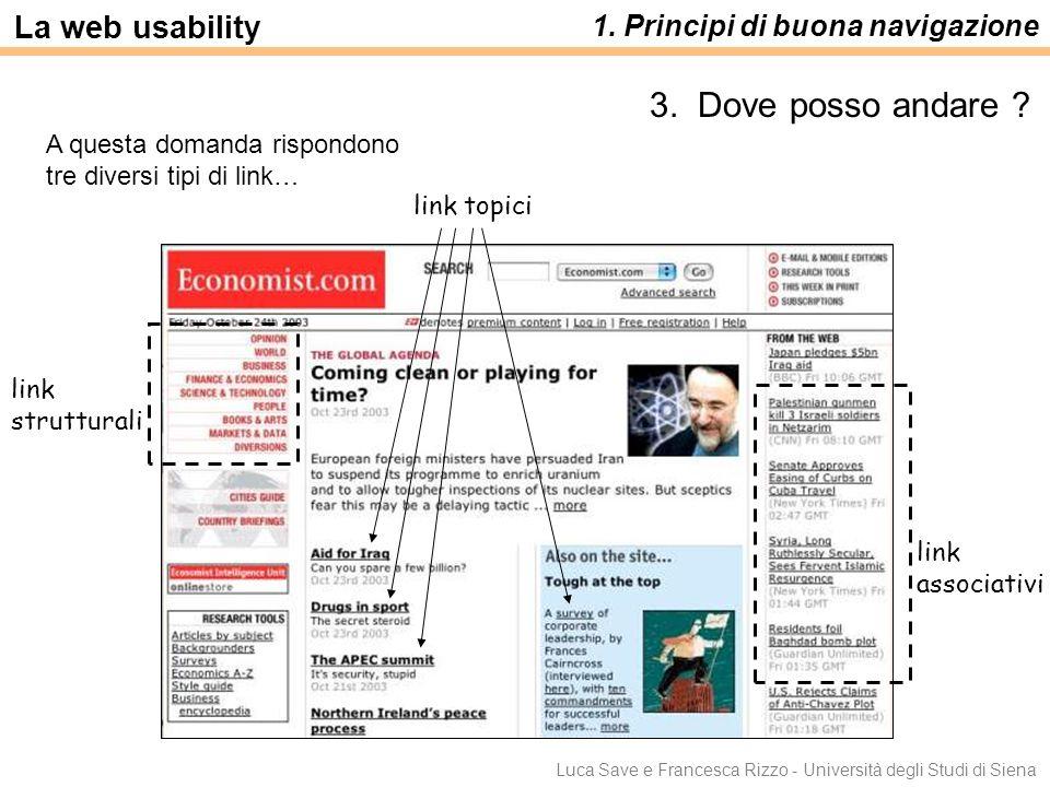 Luca Save e Francesca Rizzo - Università degli Studi di Siena La web usability 1. Principi di buona navigazione 3. Dove posso andare ? A questa domand