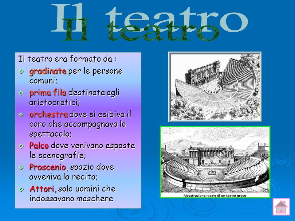 Il teatro era formato da : gradinate per le persone comuni; gradinate per le persone comuni; prima fila destinata agli aristocratici; prima fila desti