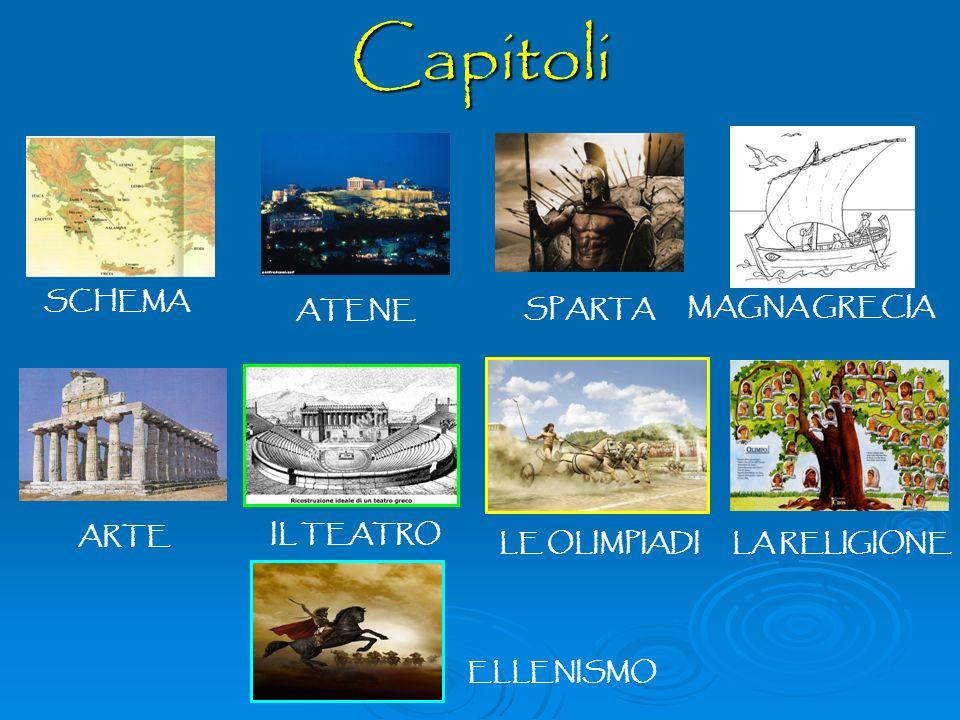 Capitoli SCHEMA ATENESPARTA MAGNA GRECIA ARTE LA RELIGIONE IL TEATRO LE OLIMPIADI ELLENISMO