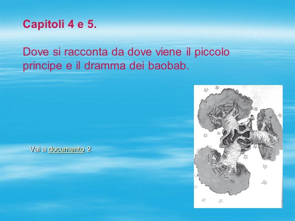 Vai a documento 2 documento Capitoli 4 e 5. Dove si racconta da dove viene il piccolo principe e il dramma dei baobab.