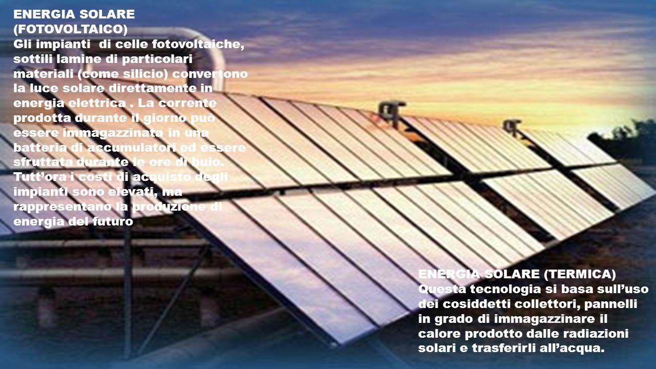ENERGIA SOLARE (TERMICA) Questa tecnologia si basa sulluso dei cosiddetti collettori, pannelli in grado di immagazzinare il calore prodotto dalle radi