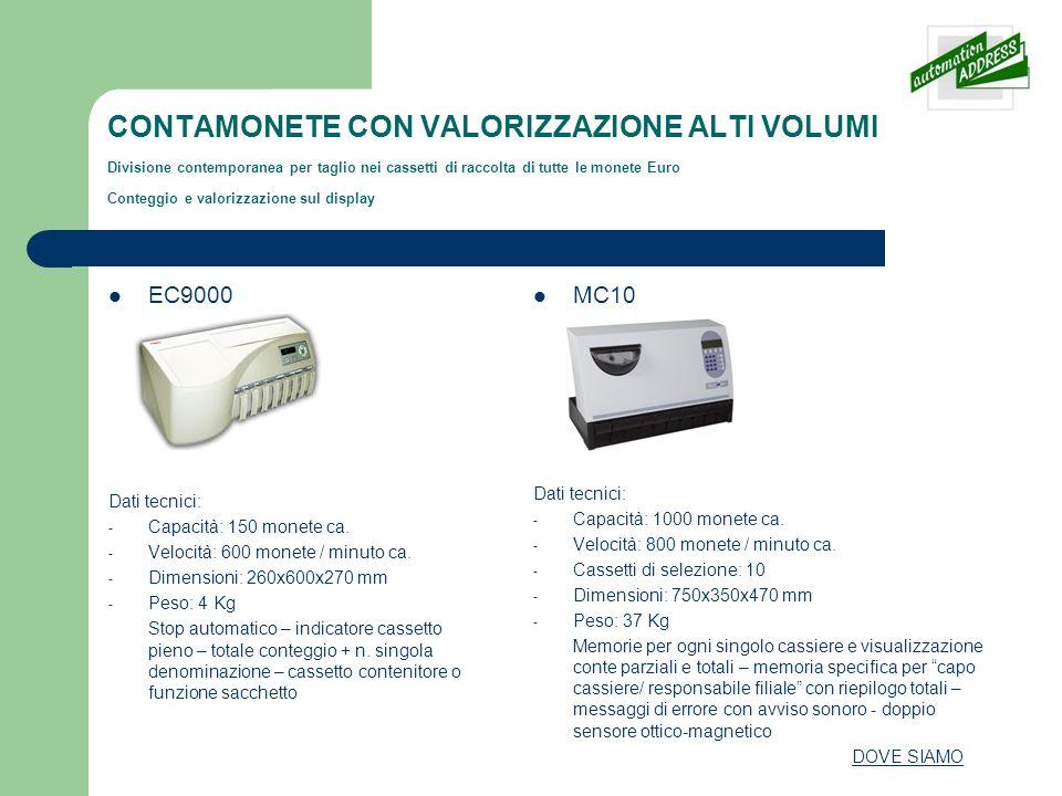 CONTAMONETE CON VALORIZZAZIONE ALTI VOLUMI Divisione contemporanea per taglio nei cassetti di raccolta di tutte le monete Euro Conteggio e valorizzazi