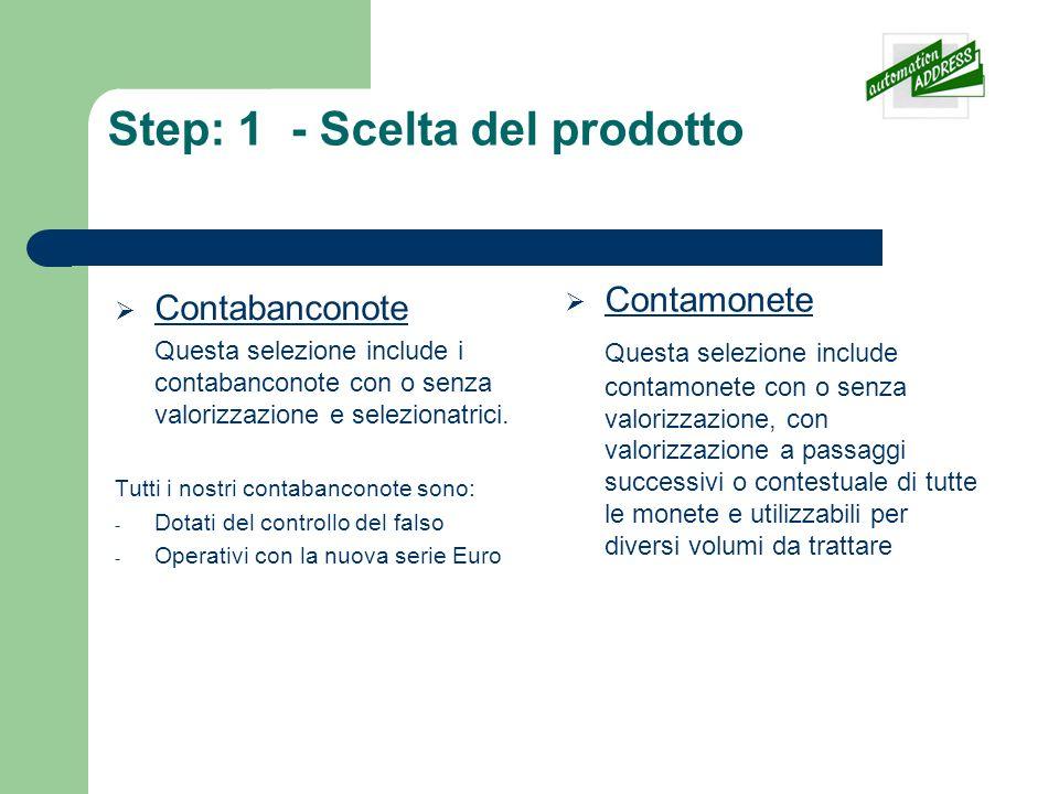 Step: 1 - Scelta del prodotto Contabanconote Questa selezione include i contabanconote con o senza valorizzazione e selezionatrici. Tutti i nostri con