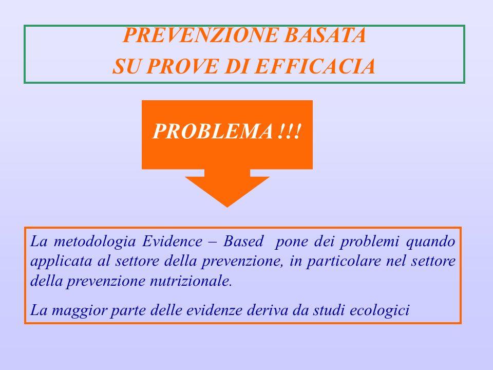 La metodologia Evidence – Based pone dei problemi quando applicata al settore della prevenzione, in particolare nel settore della prevenzione nutrizio
