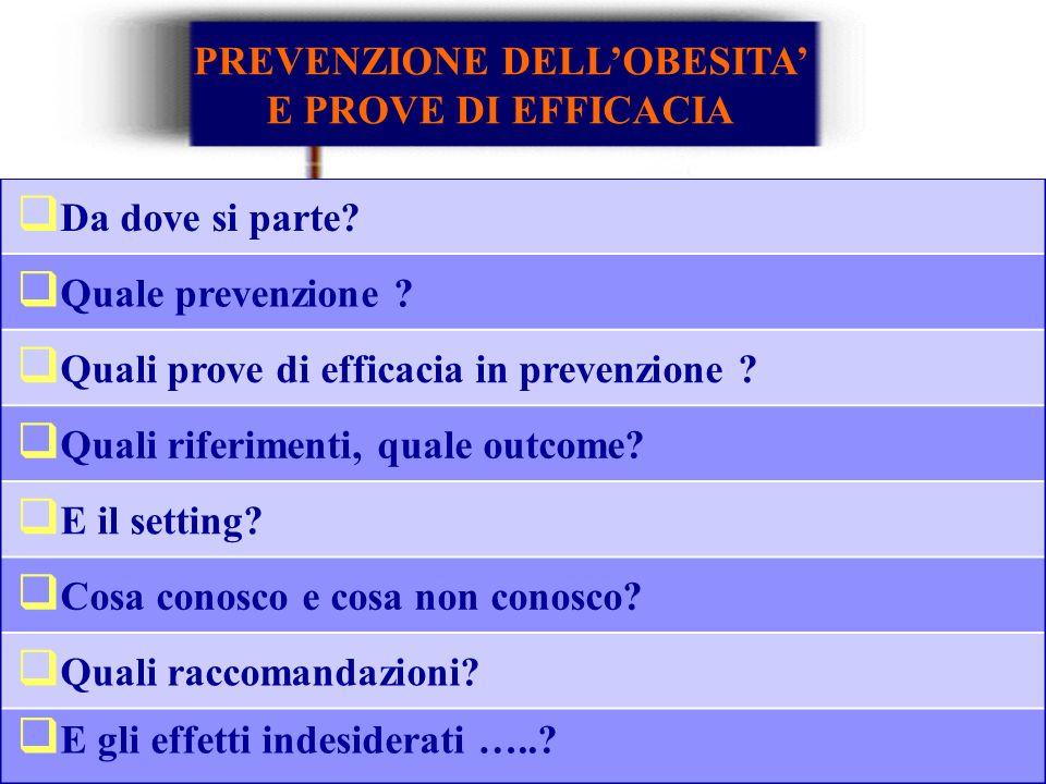 Da dove si parte? Quale prevenzione ? Quali prove di efficacia in prevenzione ? Quali riferimenti, quale outcome? E il setting? Cosa conosco e cosa no
