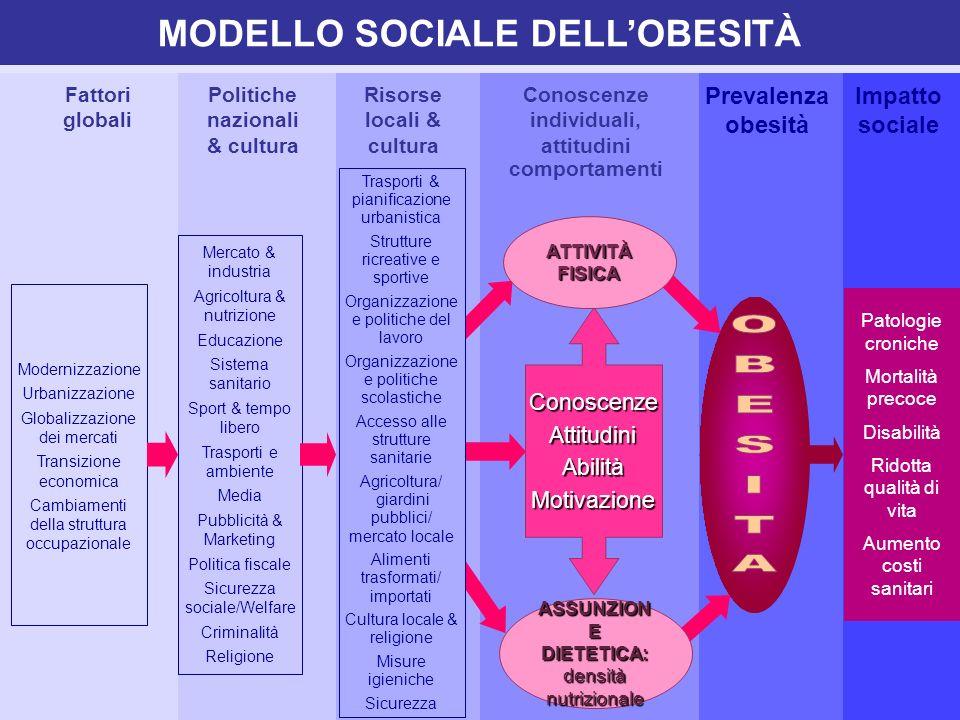 Politiche nazionali & cultura Fattori globali Risorse locali & cultura Conoscenze individuali, attitudini comportamenti Prevalenza obesità Impatto soc