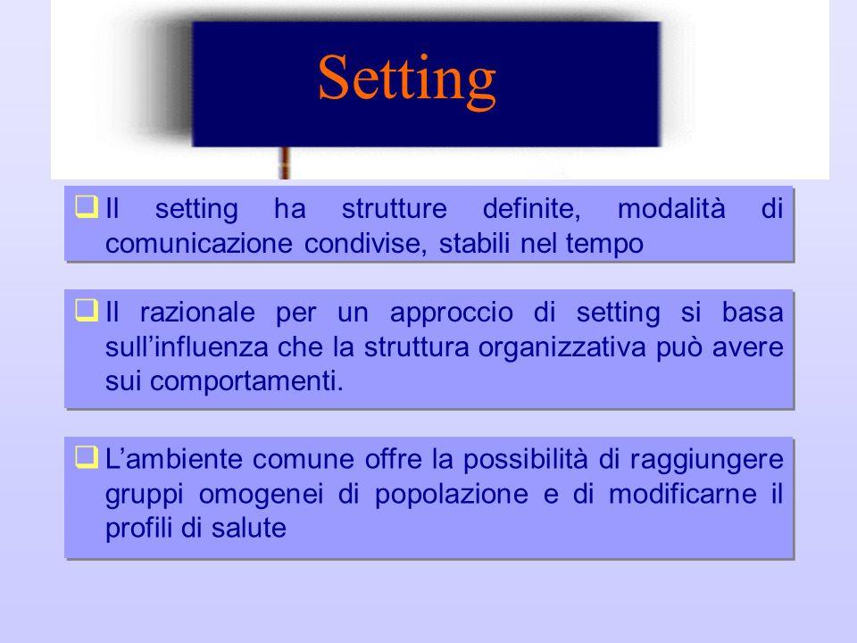 Setting Il setting ha strutture definite, modalità di comunicazione condivise, stabili nel tempo Lambiente comune offre la possibilità di raggiungere