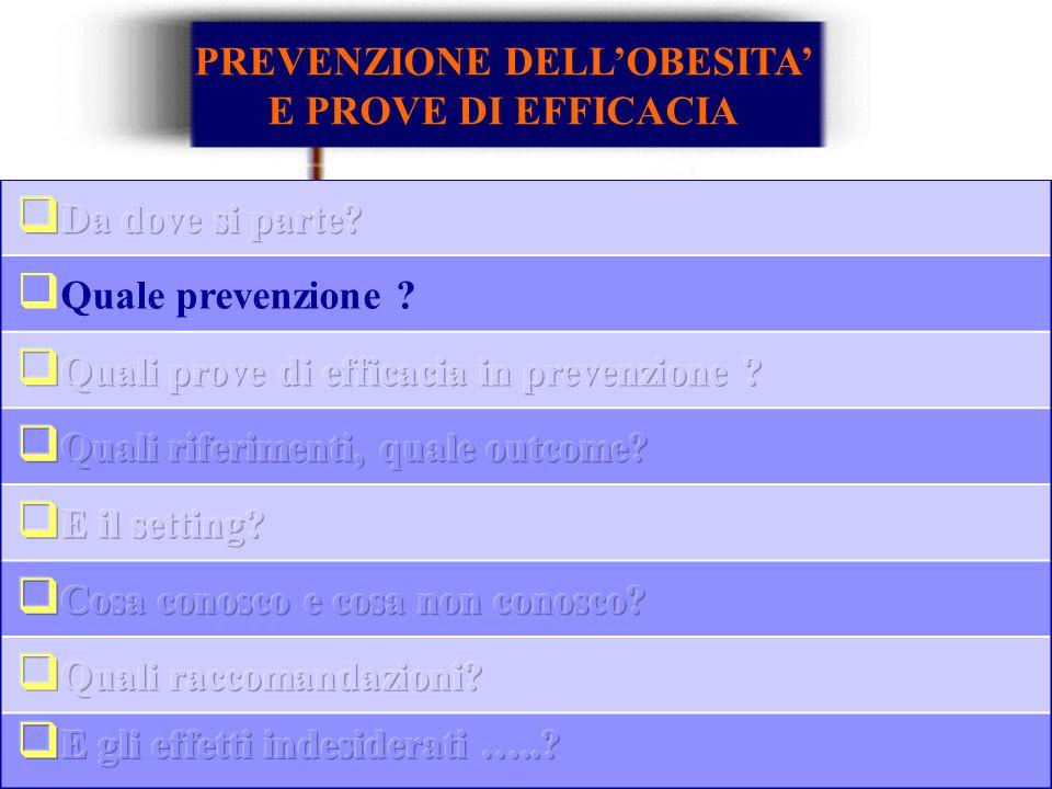 Quale prevenzione ? PREVENZIONE DELLOBESITA E PROVE DI EFFICACIA