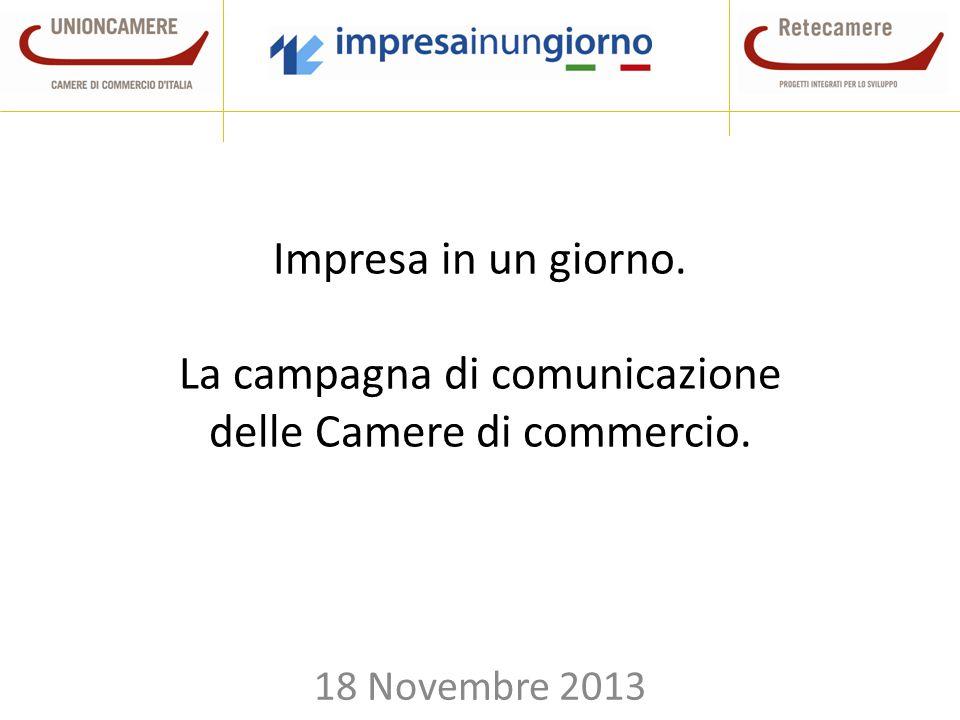 Impresa in un giorno. La campagna di comunicazione delle Camere di commercio. 18 Novembre 2013