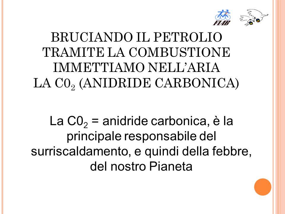 BRUCIANDO IL PETROLIO TRAMITE LA COMBUSTIONE IMMETTIAMO NELLARIA LA C0 2 (ANIDRIDE CARBONICA) La C0 2 = anidride carbonica, è la principale responsabile del surriscaldamento, e quindi della febbre, del nostro Pianeta
