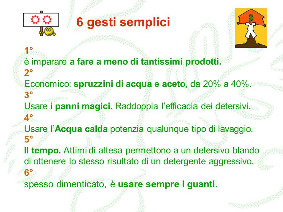 6 gesti semplici 1° è imparare a fare a meno di tantissimi prodotti. 2° Economico: spruzzini di acqua e aceto, da 20% a 40%. 3° Usare i panni magici.