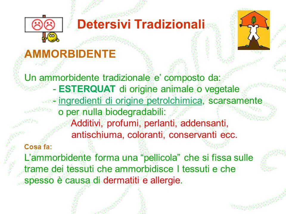 Detersivi Tradizionali AMMORBIDENTE Un ammorbidente tradizionale e composto da: - ESTERQUAT di origine animale o vegetale - ingredienti di origine pet