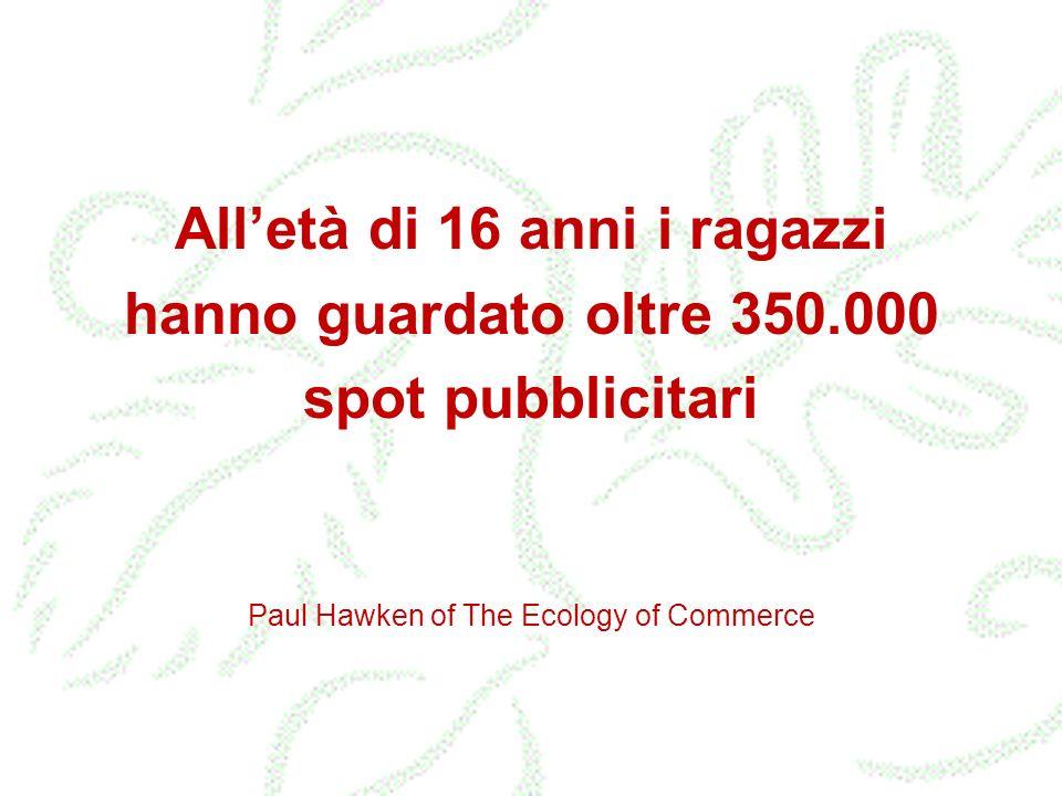 Paul Hawken of The Ecology of Commerce Alletà di 16 anni i ragazzi hanno guardato oltre 350.000 spot pubblicitari