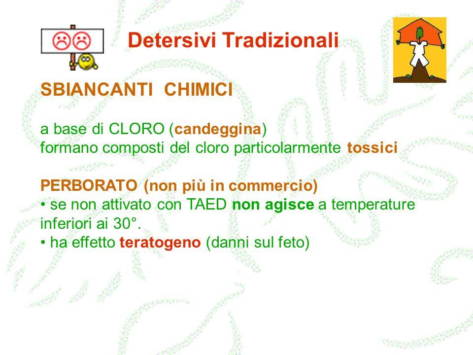 Detersivi Tradizionali SBIANCANTI CHIMICI a base di CLORO (candeggina) formano composti del cloro particolarmente tossici PERBORATO (non più in commer