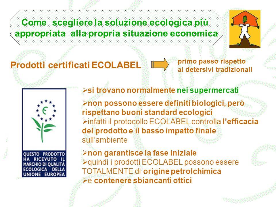 Prodotti certificati ECOLABEL si trovano normalmente nei supermercati non possono essere definiti biologici, però rispettano buoni standard ecologici