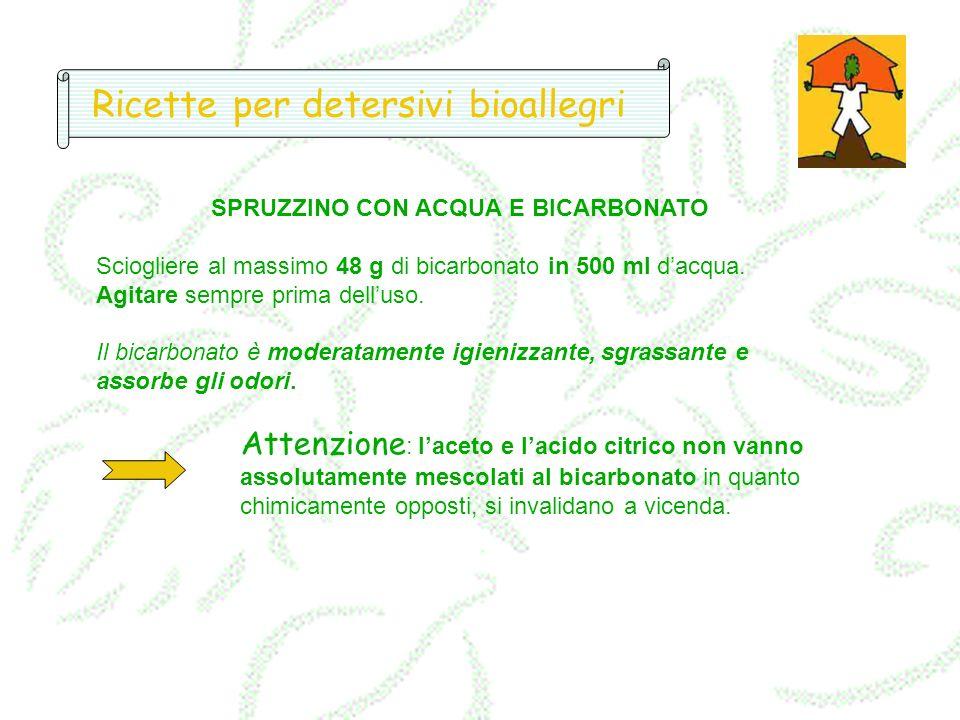 Ricette per detersivi bioallegri SPRUZZINO CON ACQUA E BICARBONATO Sciogliere al massimo 48 g di bicarbonato in 500 ml dacqua. Agitare sempre prima de
