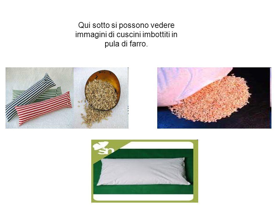 Qui sotto si possono vedere immagini di cuscini imbottiti in pula di farro.