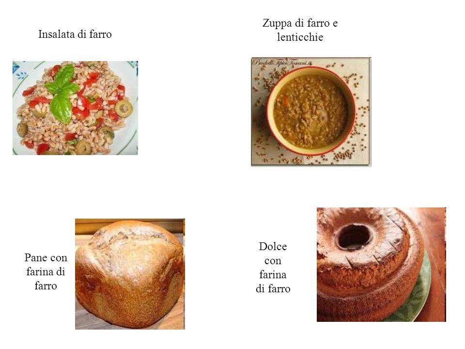 Insalata di farro Zuppa di farro e lenticchie Pane con farina di farro Dolce con farina di farro
