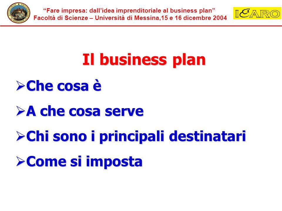 Fare impresa: dallidea imprenditoriale al business plan Facoltà di Scienze – Università di Messina,15 e 16 dicembre 2004 Il business plan Che cosa è C