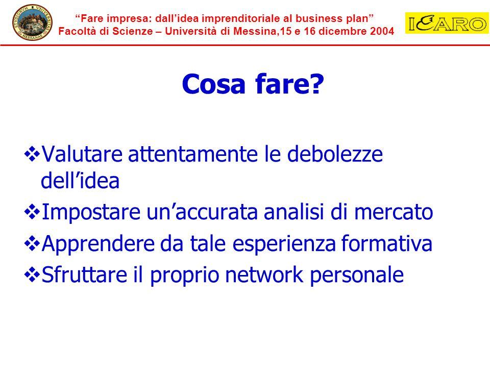 Fare impresa: dallidea imprenditoriale al business plan Facoltà di Scienze – Università di Messina,15 e 16 dicembre 2004 Cosa fare? Valutare attentame