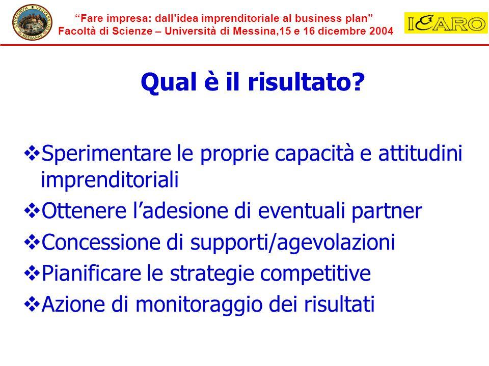 Fare impresa: dallidea imprenditoriale al business plan Facoltà di Scienze – Università di Messina,15 e 16 dicembre 2004 Qual è il risultato? Sperimen