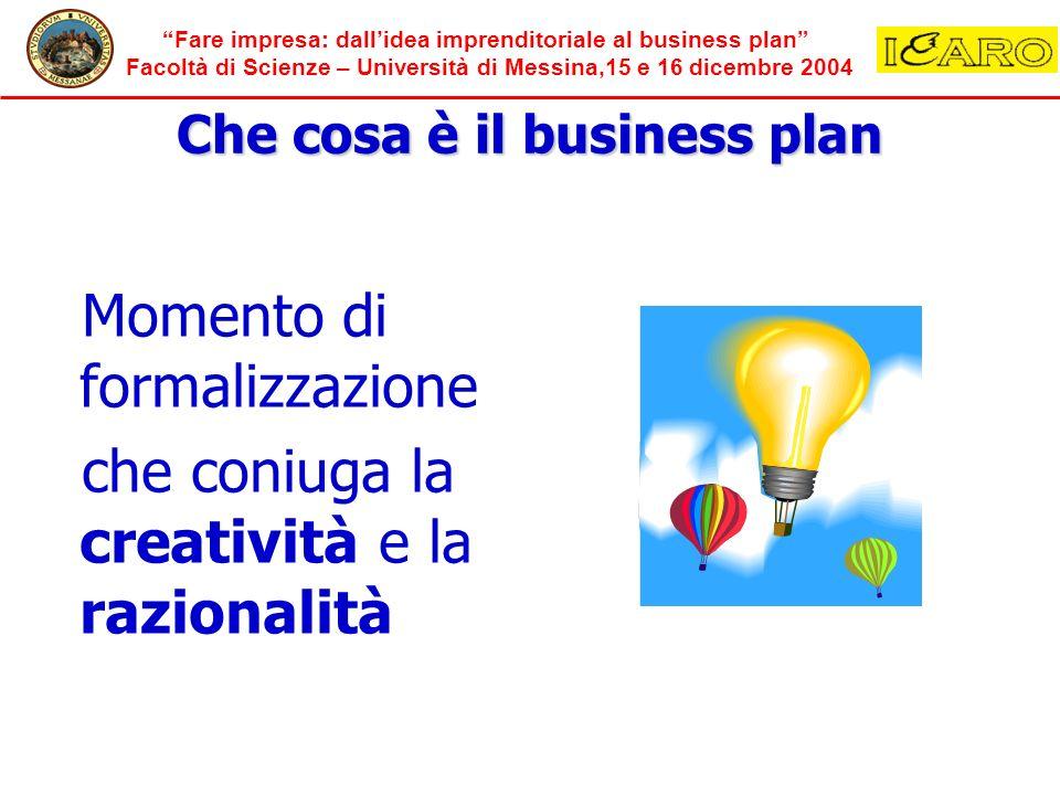 Fare impresa: dallidea imprenditoriale al business plan Facoltà di Scienze – Università di Messina,15 e 16 dicembre 2004 Che cosa è il business plan M