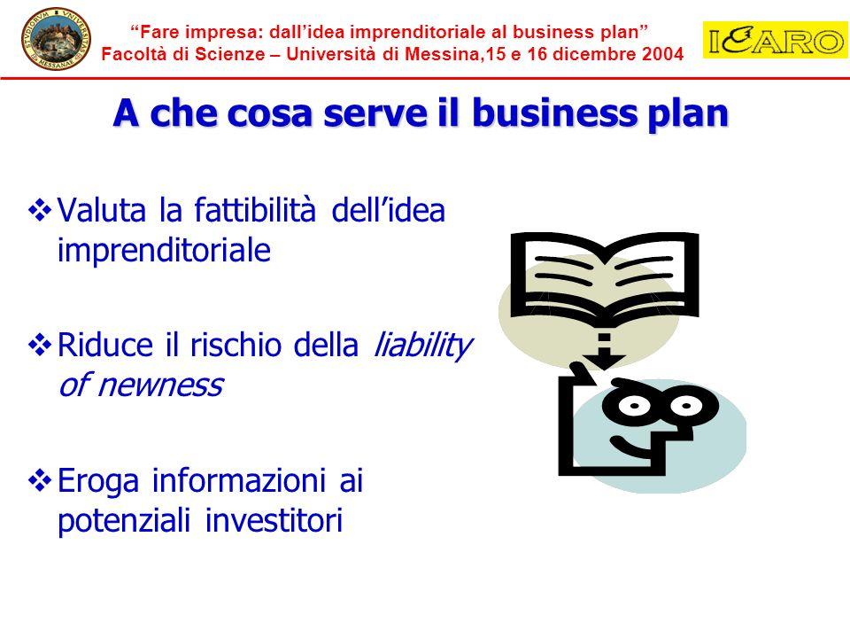 Fare impresa: dallidea imprenditoriale al business plan Facoltà di Scienze – Università di Messina,15 e 16 dicembre 2004 Valuta la fattibilità dellide