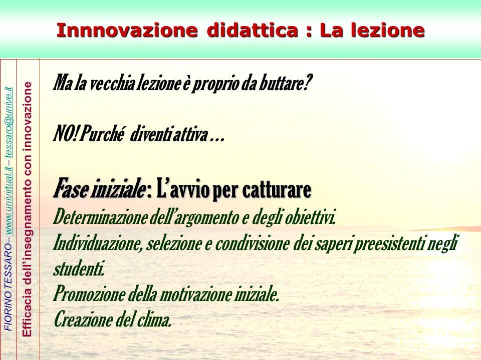 FIORINO TESSARO – www.univirtual.it – tessaro@unive.itwww.univirtual.ittessaro@unive.it Efficacia dellinsegnamento con innovazione Innnovazione didatt