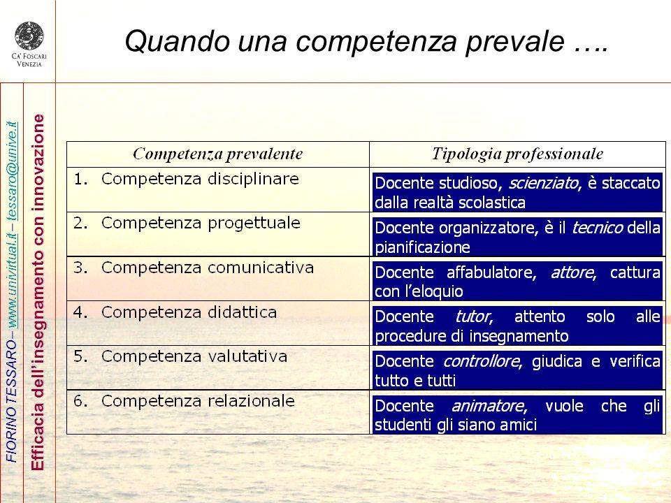 FIORINO TESSARO – www.univirtual.it – tessaro@unive.itwww.univirtual.ittessaro@unive.it Efficacia dellinsegnamento con innovazione Quando una competen