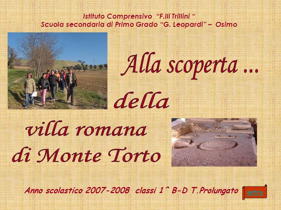 Anno scolastico 2007-2008 classi 1^ B-D T.Prolungato Istituto Comprensivo F.lli Trillini Scuola secondaria di Primo Grado G. Leopardi – Osimo entra